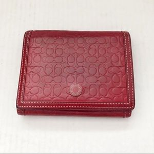 Coach Red Embossed Leather Small Fold Wallet
